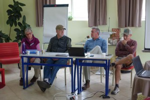 """Jeannie, Ron, Mark, and Ken Dean do a panel discussion on """"How Western Churches Work"""" in Albania."""