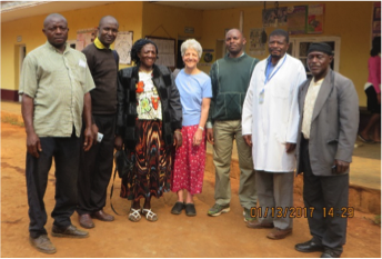 Our Team in Akeh – L-R is our Driver, Pharmacist, Support Group leader, nurse (Deb), Chaplain, Site Nurse who works in Akeh, Adherence Counselor