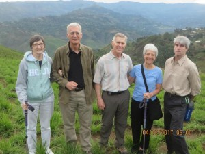 Marian & Dick Douce, Rick & Debbie, and Dennis Little on Mbingo hill after the Easter sunrise service.